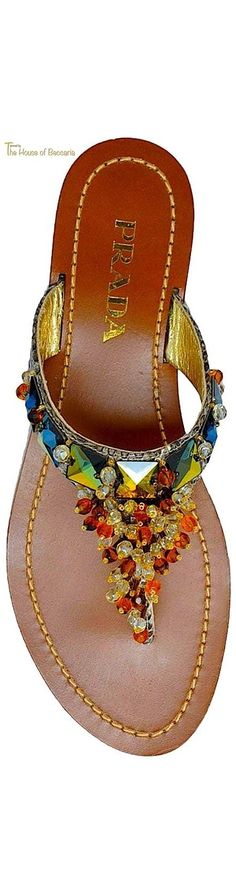 ~Prada Iridescent Jeweled Thong Sandal | House of Beccaria