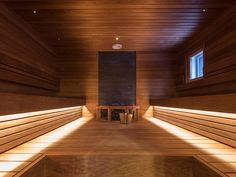 Especially when it comes to saunas, ambiance is the most important aspect, and it is easily destroyed if there is too much light or the color temperature is too cold. Color Temperature, New Homes, Stairs, Things To Come, Saunas, Lights, Led, Bathroom, Decoration