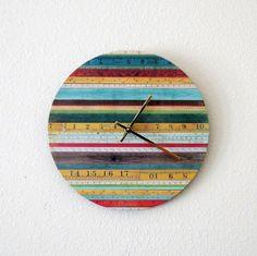 Unique Wall Clock Home Decor Quartz Clock Decor by Shannybeebo Cool Clocks, Unique Wall Clocks, Diy Clock, Clock Decor, Handmade Clocks, Quartz Clock Movements, Rainbow Wall, Cottage Chic, Cabin Chic