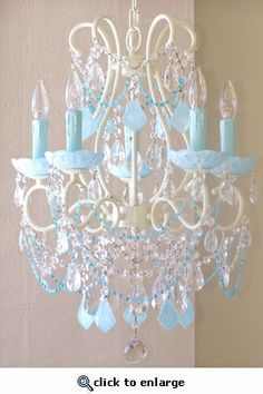 Gwynnie?   Beaded Chandelier with Aqua Blue Crystals....bedroom?  dining room?  just someplace.