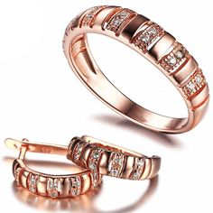 Rose Gold Plated Band Ring And Earrings Set Jewelry Sets, Fine Jewelry, Silver Jewelry, Sapphire Birthstone, Cartier Love Bracelet, 18k Rose Gold, Ring Earrings, Rose Gold Plates, Band Rings