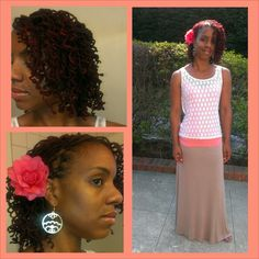 Curly locs flower maxi skirt lace top natural hair
