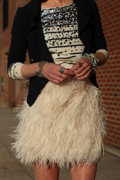 Sequins, feathers, plus Stella & Dot Renegade Cluster Bracelets. Excellent. Photo via Atlantic-Pacific.