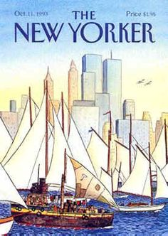 ''Back In The New World''. The New Yorker cover, October 1993 by Jacques de Loustal The New Yorker, New Yorker Covers, Print Magazine, Magazine Art, Magazine Covers, Thing 1, Bd Comics, World Trade Center, Trade Centre