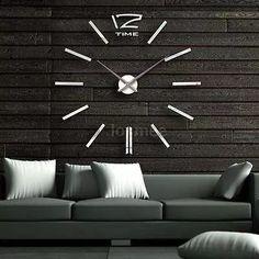 reloj de pared moderno grande 3d negro reloj de decoración