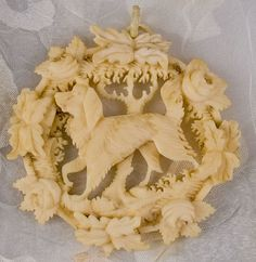 Hand Carved Ivory Canine Pendant - a beautiful addition to any attire Victorian Jewelry, Antique Jewelry, Vintage Jewelry, Bone Jewelry, Cameo Jewelry, Jewellery, Mocha, Art Chinois, Vintage Dog