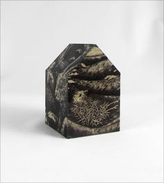 Cheryl K. Shurtleff, House for the Junco and Her Rescuers, 2014. Wood, digital images from original drawing (3 x 2 x 2 inches)