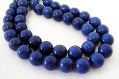 Blue Round Beads  Cobalt Blue Turquoise Gemstone  by BijiBijoux