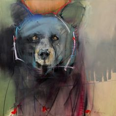 Rebecca Haines' paintings depict animals as intermediaries between the civilized and the wild, showing at Pippin Contemporary. Cool Paintings, Animal Paintings, Mexico Art, Animal Magic, Guache, Southwest Art, Bear Art, Animal Sketches, Wildlife Art