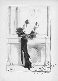 Fashion Drawing by Designer Edward Molyneux