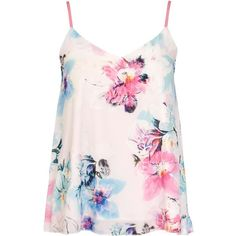 Dorothy Perkins **Quiz Flower Print Cami Top (91 BRL) ❤ liked on Polyvore featuring tops, shirts, tank tops, blusas, tanks, multi color, pink floral shirt, pink camisole, floral tank top and strappy cami
