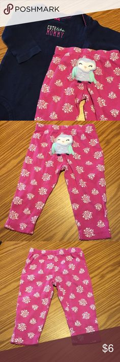 Mommy shirt & owl pants Pink pants with flowers and cute owl on back. Comes with matching long sleeve blue onesie with Cute like Mommy on front! Carter's Shirts & Tops Tees - Long Sleeve