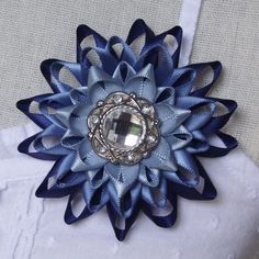 Blue Corsage Flower Blue Flower Pin Blue Wedding Corsage Navy Blue Bridesmaid Flowers Mother of the Bride Flower Blue Ombre Dress Pin