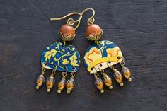 Vintage Tin Bohemian Chandelier Earrings with by MusingTreeStudios