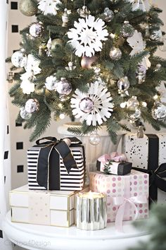 blush, black and white, mixed metallics, paper snowflakes in small Christmas tree