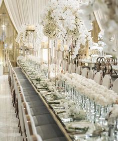 An immaculate white and gold reception complete with draping orchids! Featuring infinity and Washington dining chairs from White Wedding Decorations, Luxury Wedding Decor, Reception Decorations, Chic Wedding, Wedding Centerpieces, Wedding Table, Dream Wedding, Wedding Ideas, Classic Wedding Decor