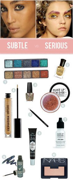 Glitter makeup and nail polish products, plus tips on applying/removing glitter makeup
