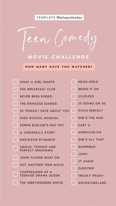 Challenge With Friends - All . -Film Challenge With Friends - All . - Story Templates – FILM/TV – Kelsey Heinrichs Story Templates – FILM/TV – Kelsey Heinrichs Romance Movie Challenge checklist by Kelseyinlondon How many have you watched? Netflix Movie List, Netflix Movies To Watch, Movie To Watch List, Good Movies To Watch, Shows On Netflix, Movies To Watch Teenagers, Comedy Movies List, Netflix Netflix, Netflix Series