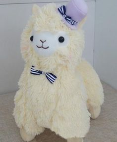 "Japan Amuse Arpakasso Alpacasso Alpaca Plush Doll Yellow Toy With Hat 14"" 35cm"