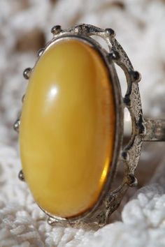 Vintage 925 Sterling Silver Baltic Butterscotch Amber Ring