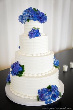Amy Beck Cake Design - buttercream with blue flowers at Greenhouse Loft