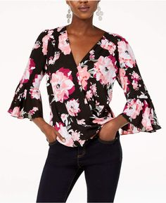 9944c5c794001 INC International Concepts I.N.C. Floral-Print Bell-Sleeve Top
