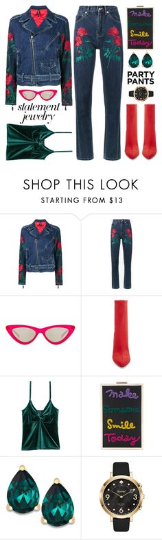 """""""#PolyPresents: Fancy Pants-Statement Jewelry"""" by shoaleh-nia ❤ liked on Polyvore featuring Adam Selman, Le Specs, Steve Madden, Alice + Olivia, Kate Spade, contestentry, polyvoreeditorial and polyPresents"""