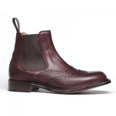 Ladies Cheaney Victoria R  Chelsea Boots in Burgundy Grain Leather