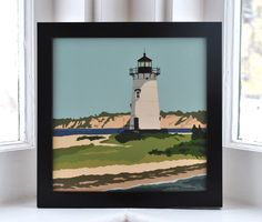Edgartown Light, Martha's Vineyard Framed Print (8x8 Square, Wall Decor Art). Edgartown Light print by Graphic Artist Alan Claude. Framed print Art is UV protected with durable matte laminate coating. No glass or plexiglass. Art is permanently bonded so it will not buckle, wrinkle or fade For indoor use only and ready to hang. (framed 9.25x9.25) Beautiful deep flat Acadia Black high quality wood frame. Certificate of Authenticity. Off-set print beautifully printed on archival heavy paper...