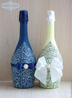 """Купить Свадебное шампанское """"Красивая Пара"""". Роспись. - шампанское, шампанское на свадьбу, шампанское свадебное"""