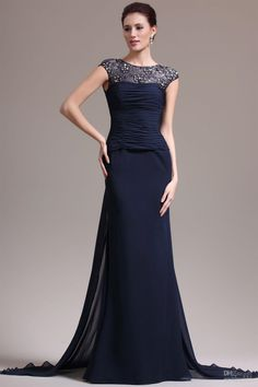 Navy Blue Mermaid Chiffon Prom Dresses 2014,Navy Blue Prom Dresses With Lace Sleeves