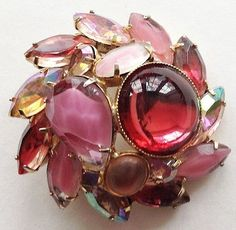 """Round, dome-shaped, gold tone pin or brooch with pink and light yellow rhinestones and resin (?)""""stones. (The colors work beautifully together.) Meas...  #auroraborealis #cabochon #gold #pink #red #vintage #jewelry"""