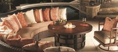 Incredible Tommy Bahama Outdoor Furniture with Beige Foam Seating Design Completed with Cushions Finished in Wooden Frame Style | Tommy Bahama is one of the most famous lifestyle brands, and that is why you will love to see Tommy Bahama outdoor furniture parade.| https://www.designoursign.com #luxury #luxurylifestyle #luxuriousliving