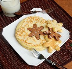 Have some fun with kids at breakfast making these snowflake pancakes!