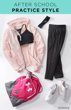 Run (and play and throw) like a girl! Boost your daughter's confidence at practice with workout gear that's as cute as it is functional. Black leggings with mesh insets team up with a black strappy sports bra for the win. Finish her look with a sporty headband and white sneakers or go the extra mile with a pop-of-pink hoodie and backpack. Go back to school with Kohl's.