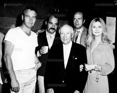 WUSA, Paramount founder Adolph Zukor (center) visits from left: Paul Newman, director Stuart Rosenberg, producer John Foreman, Joanne Woodward on set, 1970
