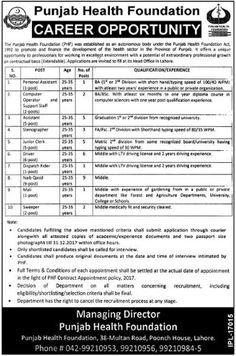 Punjab Health Foundation Government of Punjab 35 Jobs 24 Dec 2017 News