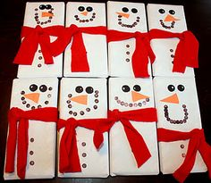 Great and simple to make gift!  Snowman wrapped chocolate bars.
