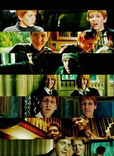 Fred and George Weasley, Harry Potter. I love freds face in the last pic! His line was hilarious too! Hermione Granger, Draco Malfoy, Weasley Harry Potter, Mundo Harry Potter, Harry Potter Quidditch, Harry Potter Love, Harry Potter Characters, Harry Potter World, Harry Potter Memes