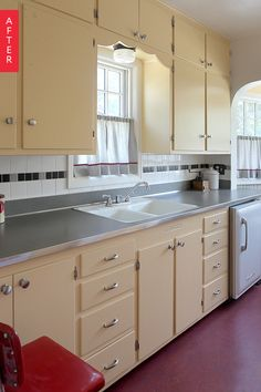 Before & After: A Kitchen Returns to its Retro Roots, use a laminate countertop like Nevermar or Pionite