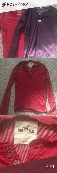2 Men's Hollister Thermals One red and one burgundy Hollister thermals size large. Super soft and stretchy. Fitted. I bought these for my husband and he never wore them because he didn't like them. NWOT condition. Hollister Shirts Tees - Long Sleeve