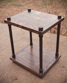 Industrial Solid Wood Nightstand | Industrial End Table | Industrial Side Table | Industrial Bedside Table by EmmorWorks on Etsy https://www.etsy.com/listing/173096907/industrial-solid-wood-nightstand