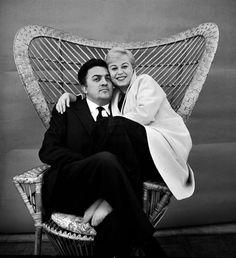 Famous Italians ~ Federico Fellini & Giulietta Masina ~  icon couple of the Italian Cinema.