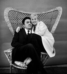 "Federico Fellini and Giulietta Masina ""Even the most miserable life is better than a sheltered existence in an organized society where everything is calculated and perfected.""  FF"