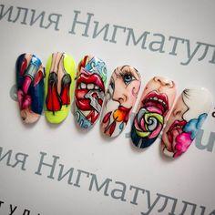 """Горячий видеокурс """"Pop-art"""" #дизайнногтей #курсыдизайнаногтей #nailart #naildesign #nails #nail #художественнаяроспись #художественнаяросписьнаногтях #росписьногтейгельлаками #popart #попартнаногтях #дизайныногтей Pop Art Nails, Nail Pops, Toe Nail Art, Nail Art Diy, Disney Acrylic Nails, Black Acrylic Nails, Sexy Nails, Dope Nails, Gel Polish Designs"""