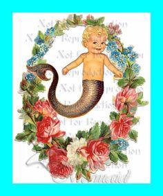 FABRIC BLOCK s470 Fantasy Fabric Blocks Mermaid Merbaby by wwwvintagemermaidcom, $7.00