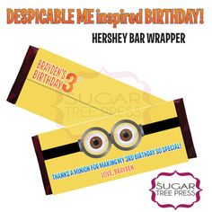 Despicable Me Inspired Standard Hershey Wrapper - Minion - Printable - DIY