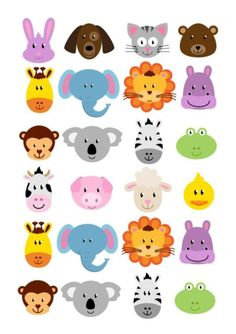 24 icing cupcake cake toppers edible animal faces cute simply cut out Animal Heads, Animal Faces, Cupcake Icing, Cupcake Cakes, Fun Activities For Kids, Crafts For Kids, Jungle Cartoon, Imprimibles Baby Shower, Cutest Animals