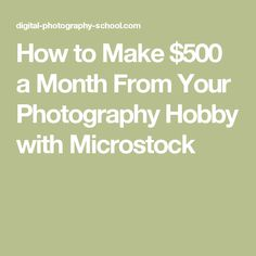 How to Make $500 a Month From Your Photography Hobby with Microstock