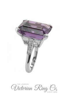 This unique amethyst ring is made in the Art Deco style and certainly makes a statement. The platinum band has three diamonds on each side of the large gemstone. The vintage design ring can be set with an amethyst weighing between 10 carat to 15 carat. #artdecojewellery #amethystringvintageunique #statementrings #dressringsdesigns #hattongardenjewellery Dress Rings, Art Deco Diamond, Art Deco Jewelry, Unique Rings, Art Deco Fashion, Statement Rings, Cocktail Rings, Ring Designs, Vintage Designs